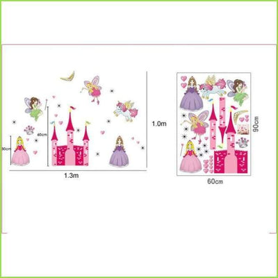X Large Pink Princess Castle on WallStickersForKids