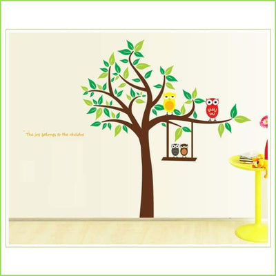 Green Tree Owl Wall Decal on WallStickersForKids