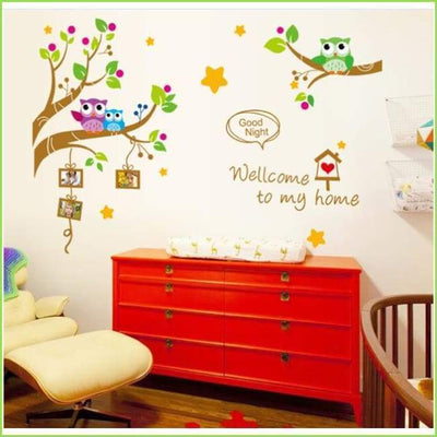 Owls Branch Frame Decals on WallStickersForKids