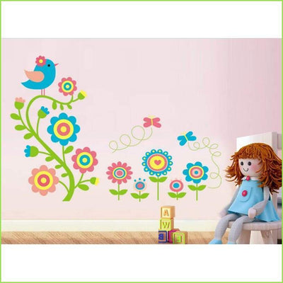 Bird Vine Wall Art Decals on WallStickersForKids