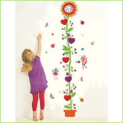 Flower Height Chart Wall Decal on WallStickersForKids