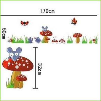 Mouse & Toadstool Skirting Border on WallStickersForKids