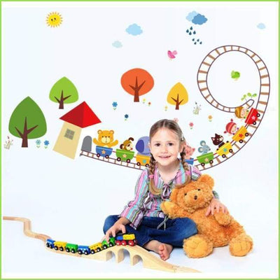 Kids Animal Train Wall Decals on WallStickersForKids