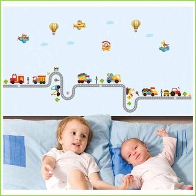 Kids Wheel Track Wall Decal on WallStickersForKids