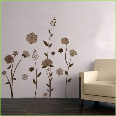 Brown Home Flowers Wall Art on WallStickersForKids
