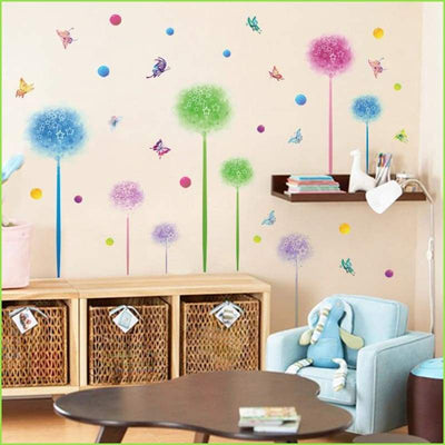 Colour Wish Flowers Wall Decals on WallStickersForKids
