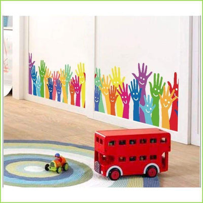 Tall Happy Hands Wall Stickers on WallStickersForKids