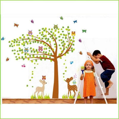 Butterfly Deer Tree Wall Stickers on WallStickersForKids