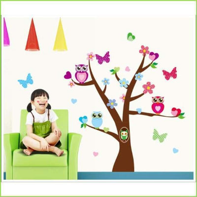 Owl Butterfly Tree Wall Art Decals on WallStickersForKids
