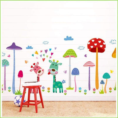 Colourful Giraffe Jungle Wall Stickers on WallStickersForKids