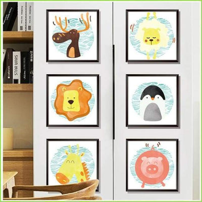 Blue Circle Animal Frames on WallStickersForKids