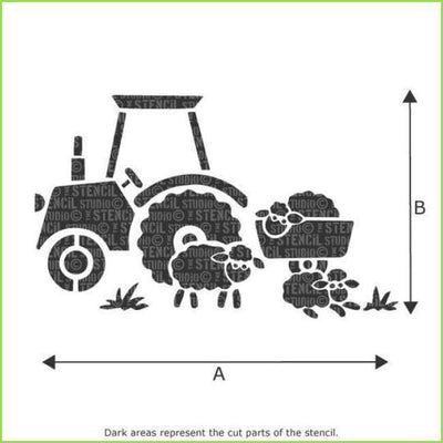 Tractor Wall Stencil on WallStickersForKids