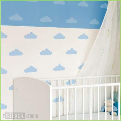 Fluffy Clouds Wall Stencil on WallStickersForKids