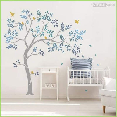 Nursery Tree Wall Stencil on WallStickersForKids