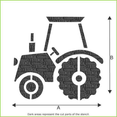 Large Farm Tractor Wall Stencil on WallStickersForKids