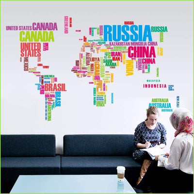 Vibrant Colour World Map Sticker on WallStickersForKids