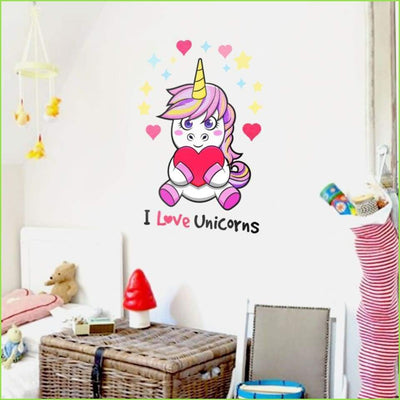 Wsfk Happy Unicorn Wall Sticker - Stickers