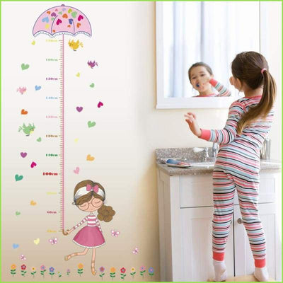 Pink Umbrella Height Chart - Stickers