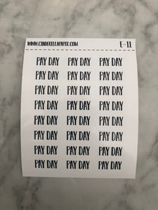 Pay Day || E-11 - CinderellaPaper