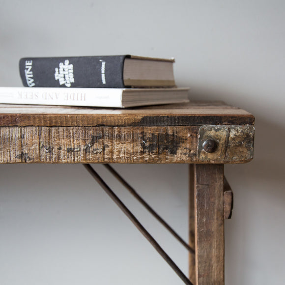 Reclaimed Timber & Iron Folding Console Table