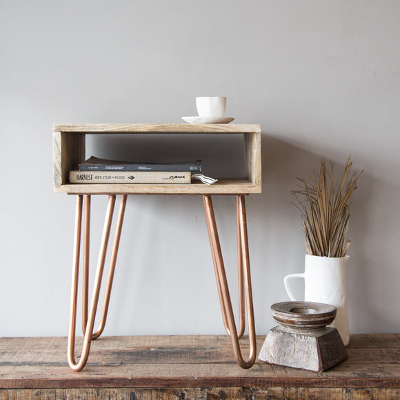 Hairpin Mangowood Bedside Table