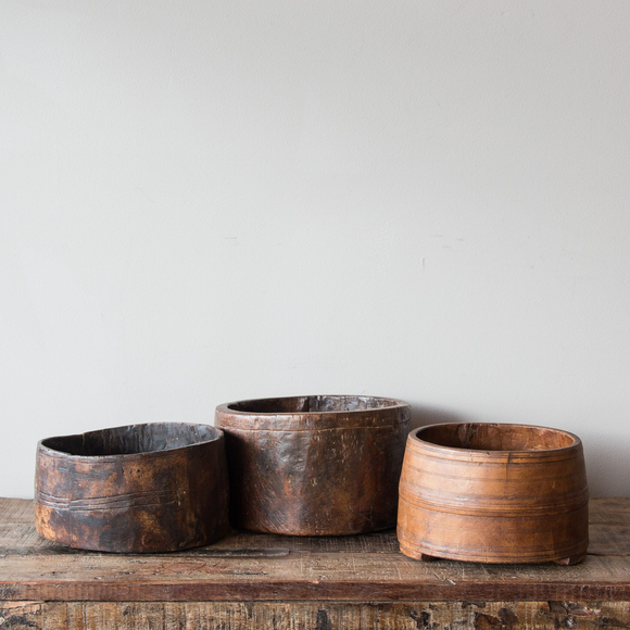 Assorted Vintage Wooden Planter Pots & Bowls