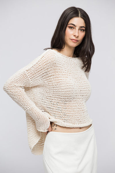Linen Cotton knit  oversized sweater - RoseUniqueStyle