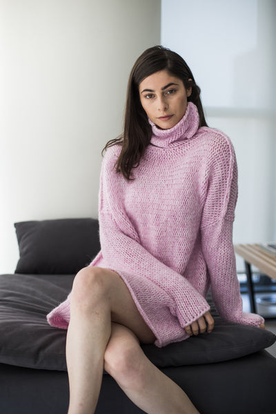 Pink Alpaca chunky knit woman sweater.
