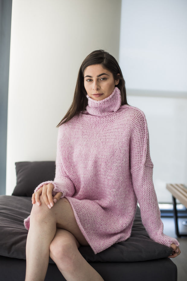 Pink Alpaca  chunky knit sweater. - RoseUniqueStyle