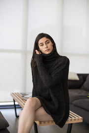 Chunky knit  Alpaca  Black  Charcoal  sweater . - RoseUniqueStyle