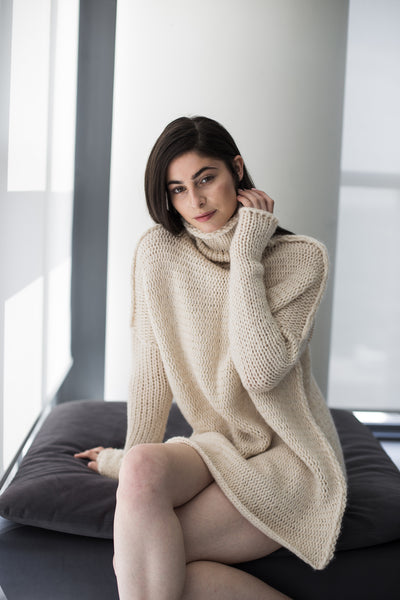 Cream oversized alpaca chunky knit woman sweater .