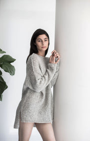 Light grey Alpaca oversized sweater. - RoseUniqueStyle