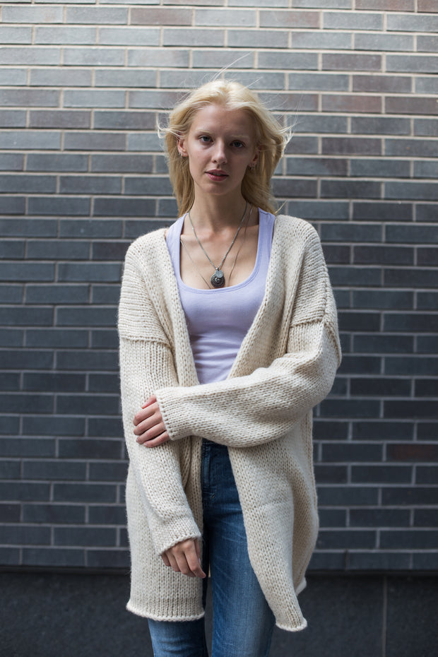 Alpaca chunky knit cardigan. - RoseUniqueStyle