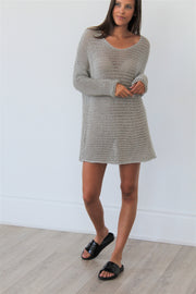 Cotton  loose knit sweater dress.