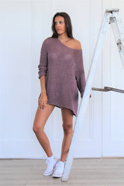 Cotton loose knit sweater dress ~ Roseuniquestyle