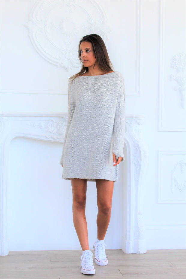 Pearl grey oversized alpaca sweater  dress - Roseuniquestyle