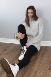 Alpaca chunky knit sweater  in pearl grey .