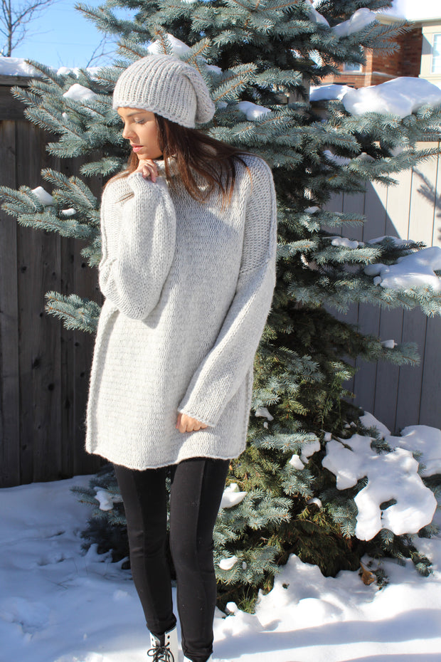 Oversized  knit sweater dress pearl grey - Roseuniquestyle