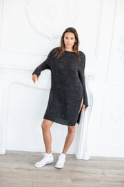 Charcoal oversized knit dress - Roseuniquestyle
