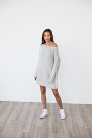 Pearl grey chunky knit alpaca sweater .