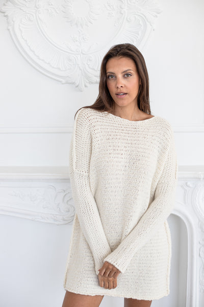 Alpaca   Chunky knit  off white  sweater. - RoseUniqueStyle