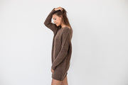 Brown alpaca oversized sweater dress .