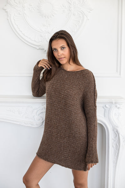 Brown alpaca oversized knit sweater - Roseuniquestyle