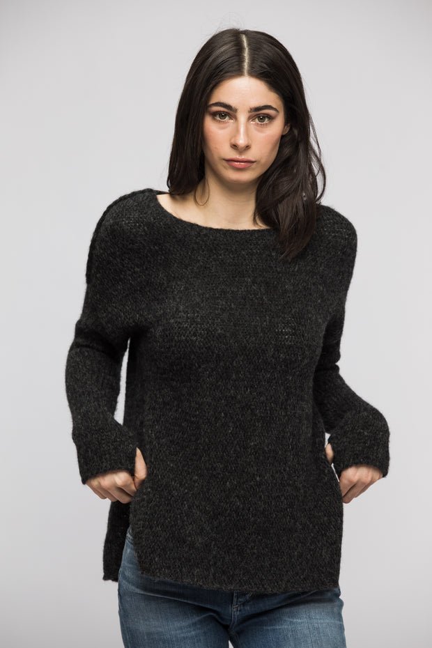 Charcoal alpaca split sides sweater. - RoseUniqueStyle