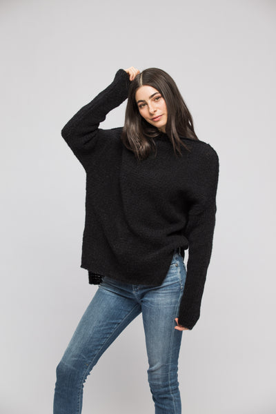 Black alpaca sweater - RoseUniqueStyle