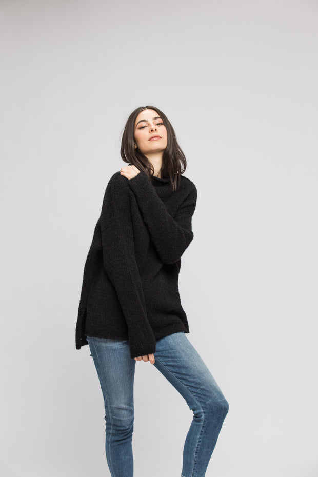 Black alpaca sweater. - RoseUniqueStyle