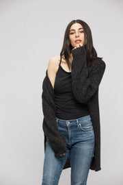 Black charcoal oversized chunky knit cardigan.