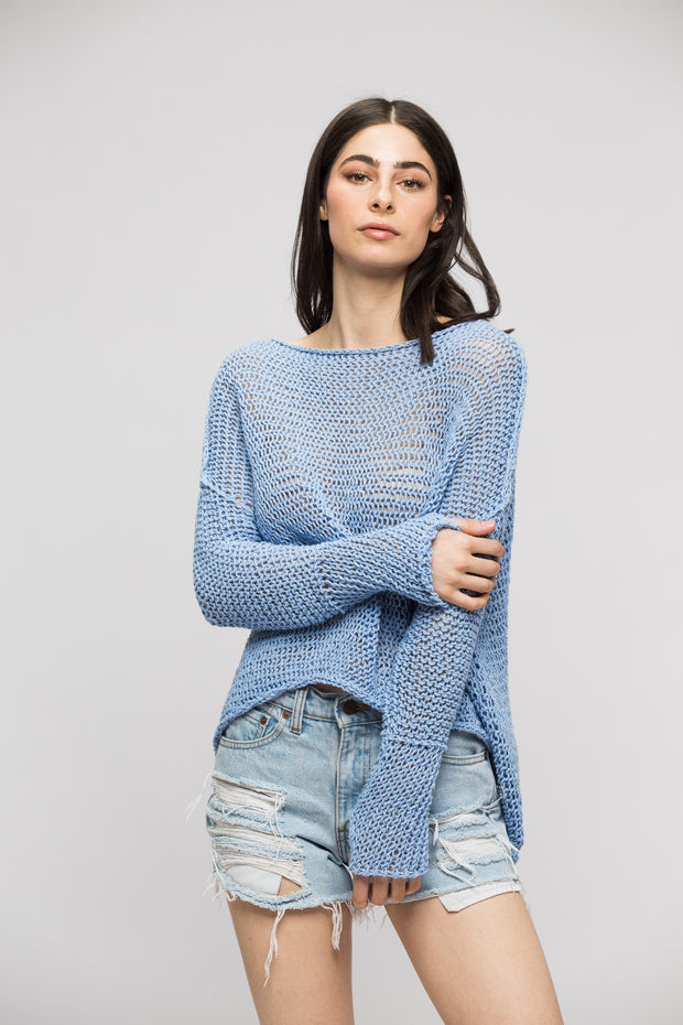 Cotton Linen  blue sweater. - RoseUniqueStyle