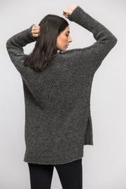 Grey alpaca split sides  sweater. - RoseUniqueStyle