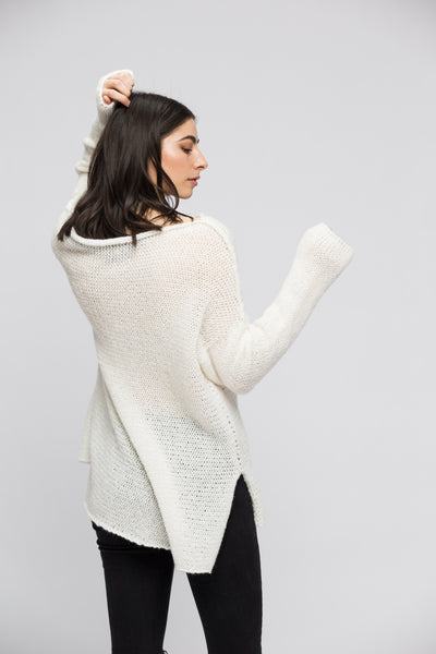 White  alpaca knit sweater dress - Roseuniquestyle